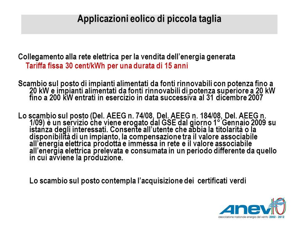 Applicazioni eolico di piccola taglia Collegamento alla rete elettrica per la vendita dellenergia generata Tariffa fissa 30 cent/kWh per una durata di