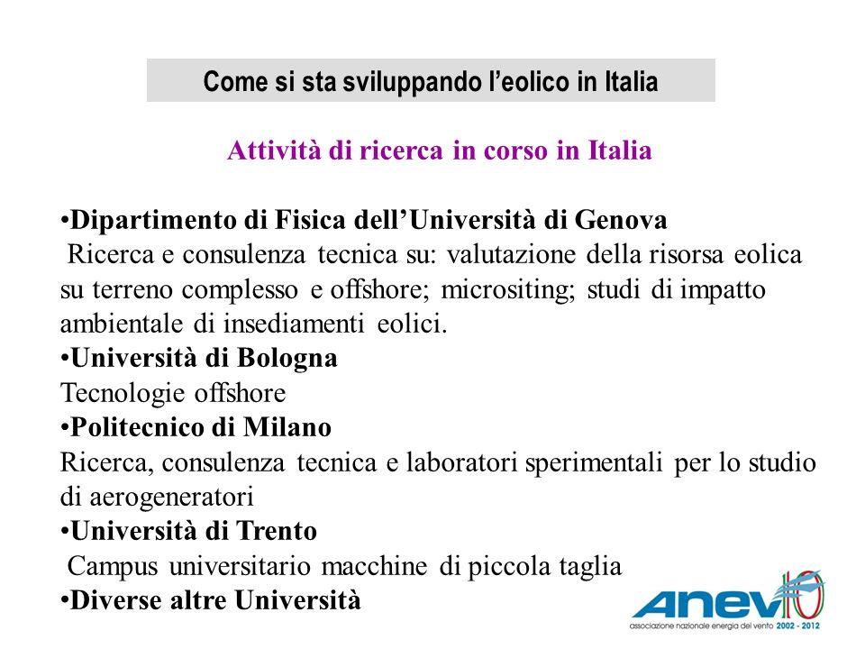 Come si sta sviluppando leolico in Italia Attività di ricerca in corso in Italia Dipartimento di Fisica dellUniversità di Genova Ricerca e consulenza