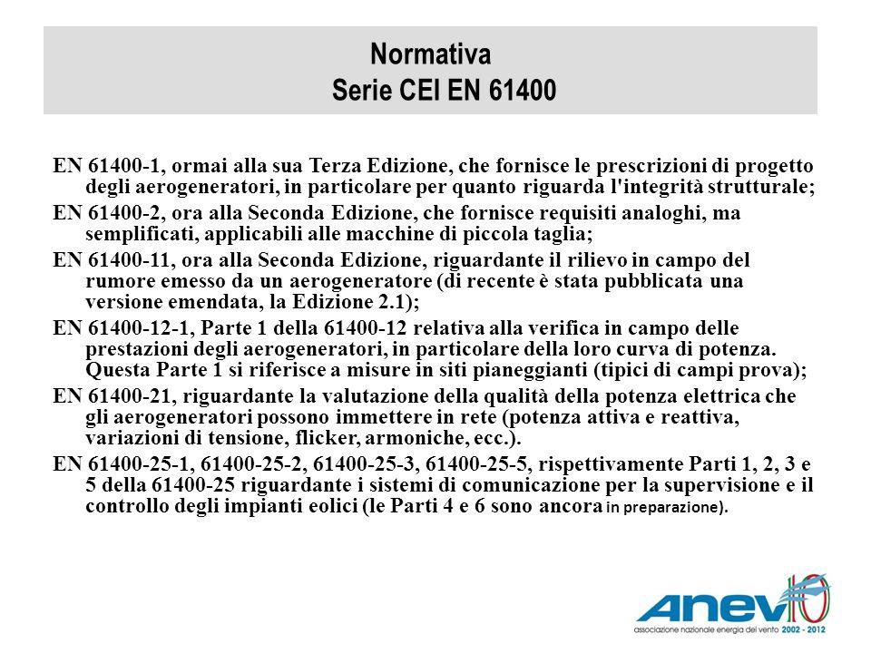 Normativa Serie CEI EN 61400 EN 61400-1, ormai alla sua Terza Edizione, che fornisce le prescrizioni di progetto degli aerogeneratori, in particolare