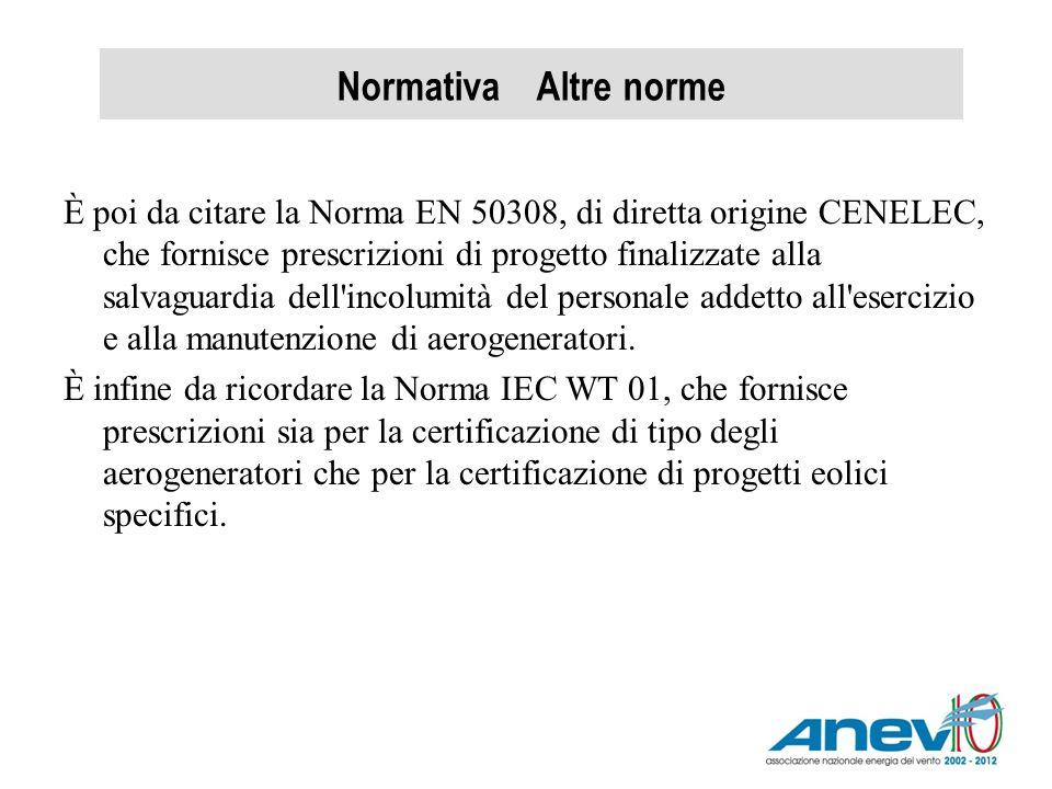 Normativa Altre norme È poi da citare la Norma EN 50308, di diretta origine CENELEC, che fornisce prescrizioni di progetto finalizzate alla salvaguard