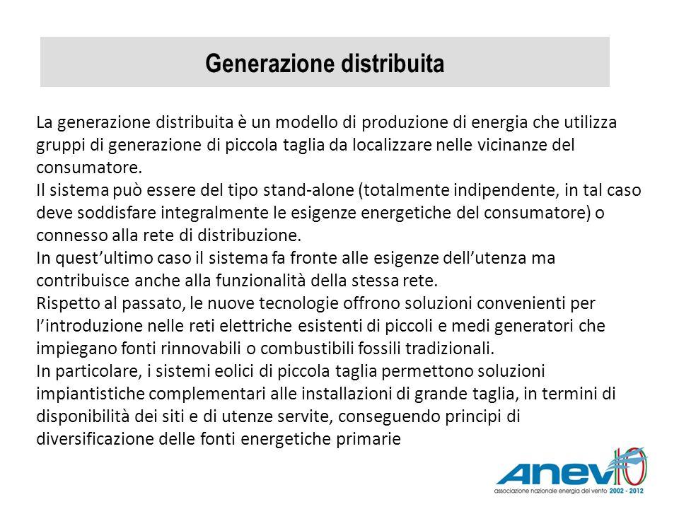 Generazione distribuita La generazione distribuita è un modello di produzione di energia che utilizza gruppi di generazione di piccola taglia da local