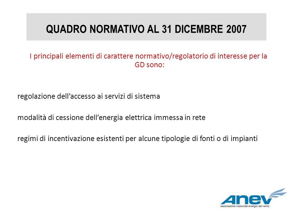 QUADRO NORMATIVO AL 31 DICEMBRE 2007 I principali elementi di carattere normativo/regolatorio di interesse per la GD sono: regolazione dellaccesso ai
