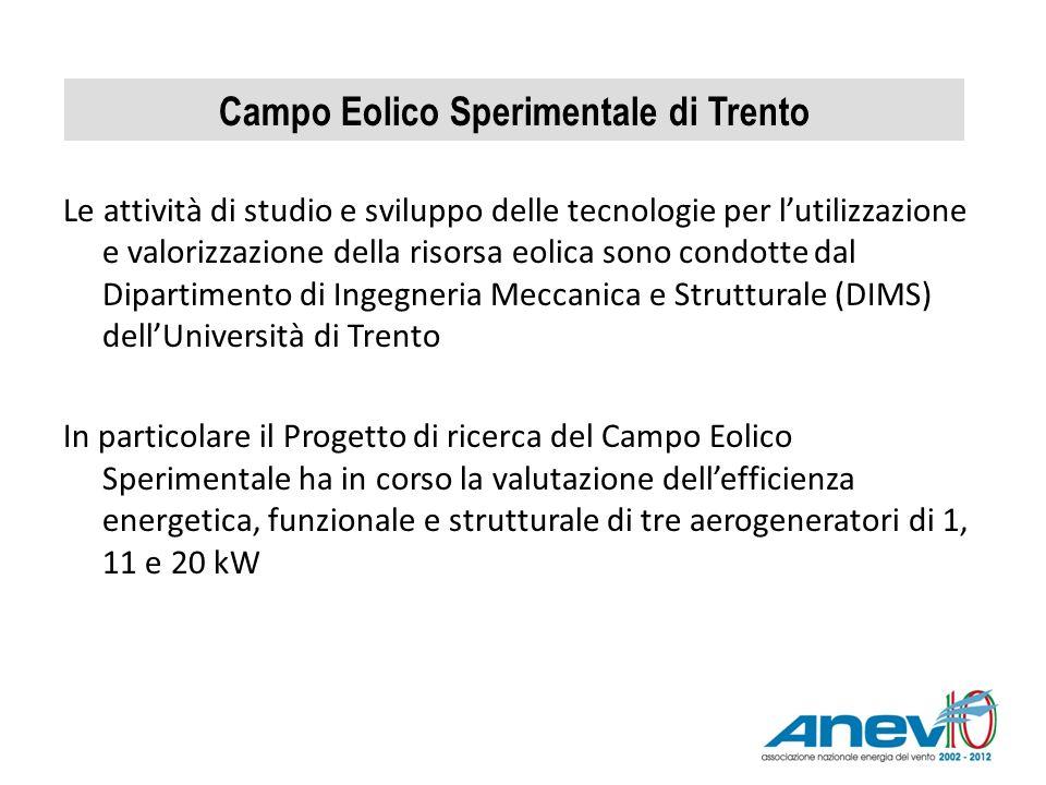Campo Eolico Sperimentale di Trento Le attività di studio e sviluppo delle tecnologie per lutilizzazione e valorizzazione della risorsa eolica sono co