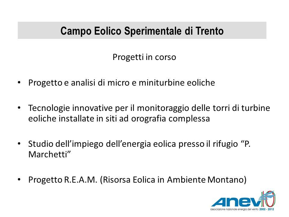 Campo Eolico Sperimentale di Trento Progetti in corso Progetto e analisi di micro e miniturbine eoliche Tecnologie innovative per il monitoraggio dell
