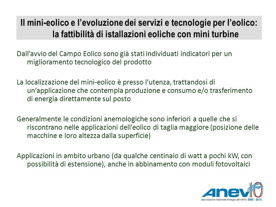 Il mini-eolico e levoluzione dei servizi e tecnologie per leolico: la fattibilità di istallazioni eoliche con mini turbine Dallavvio del Campo Eolico