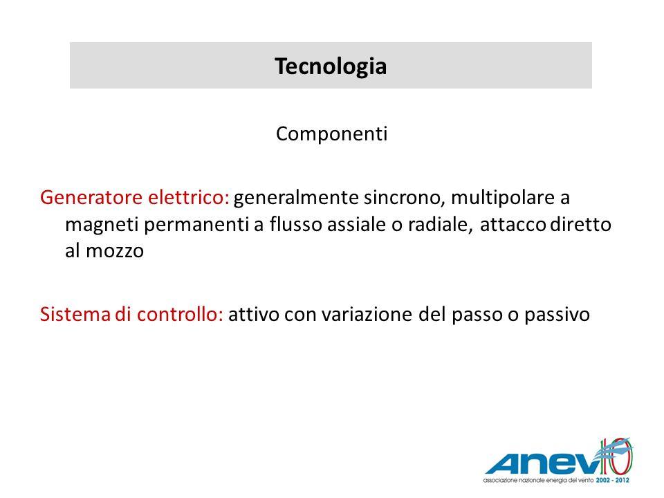 Tecnologia Componenti Generatore elettrico: generalmente sincrono, multipolare a magneti permanenti a flusso assiale o radiale, attacco diretto al moz