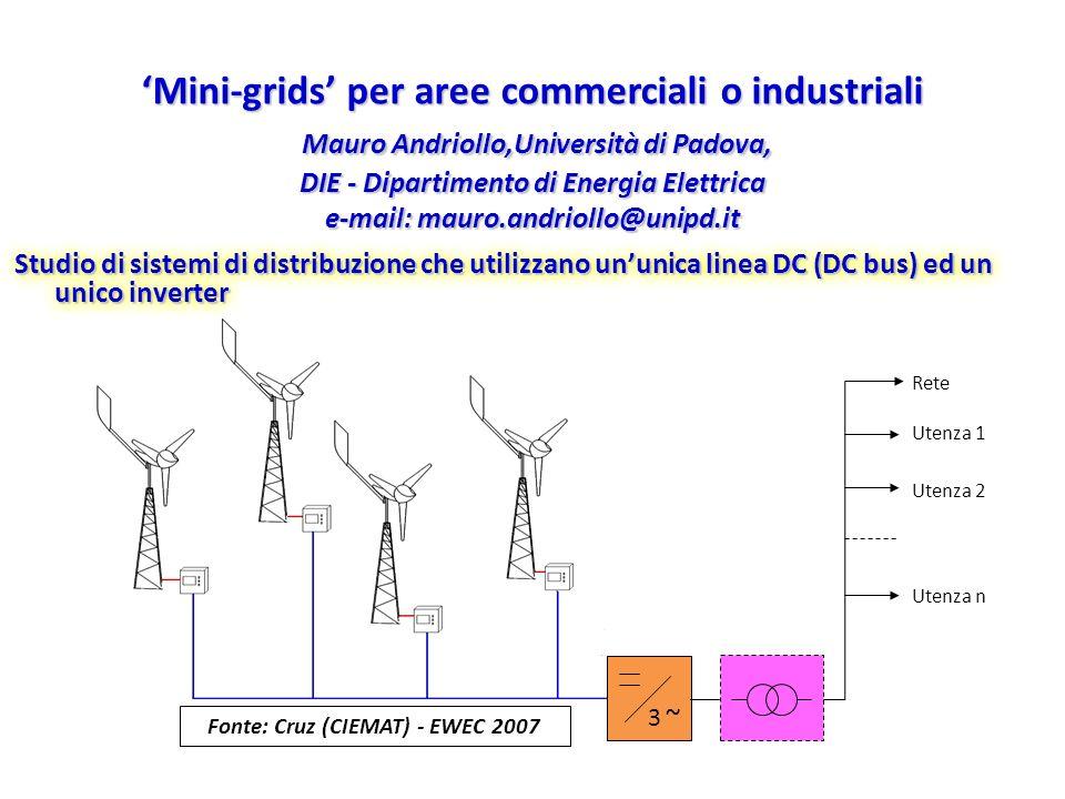 Mini-grids per aree commerciali o industriali Mauro Andriollo,Università di Padova, DIE - Dipartimento di Energia Elettrica e-mail: mauro.andriollo@un