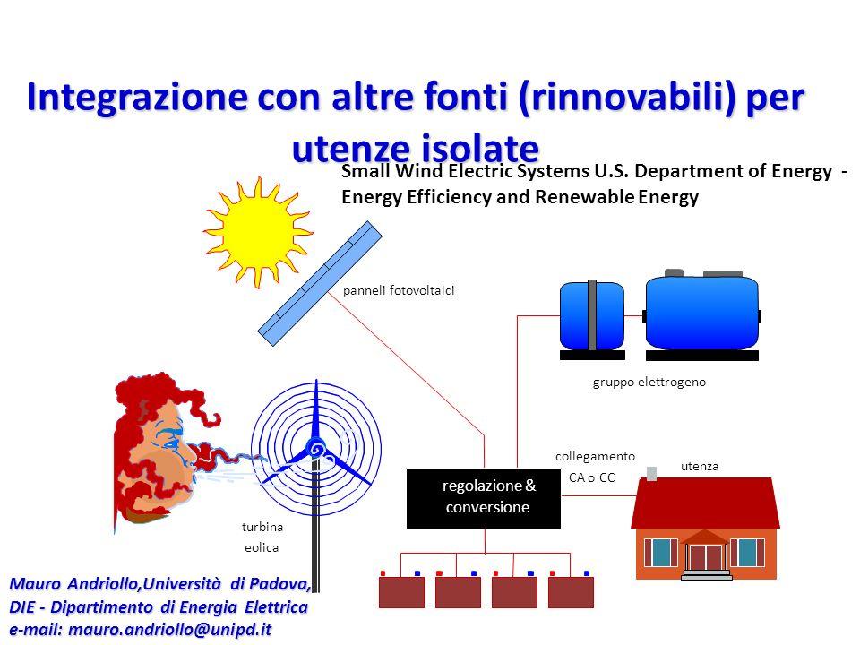 Integrazione con altre fonti (rinnovabili) per utenze isolate regolazione & conversione utenza turbina eolica panneli fotovoltaici gruppo elettrogeno