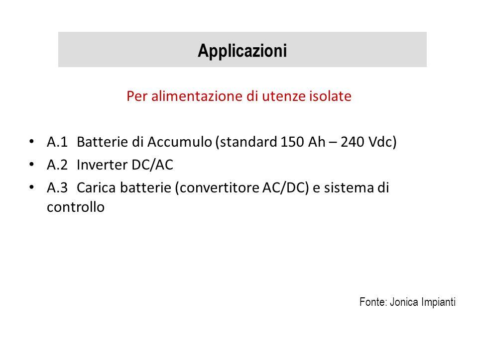 Applicazioni Per alimentazione di utenze isolate A.1Batterie di Accumulo (standard 150 Ah – 240 Vdc) A.2Inverter DC/AC A.3Carica batterie (convertitor