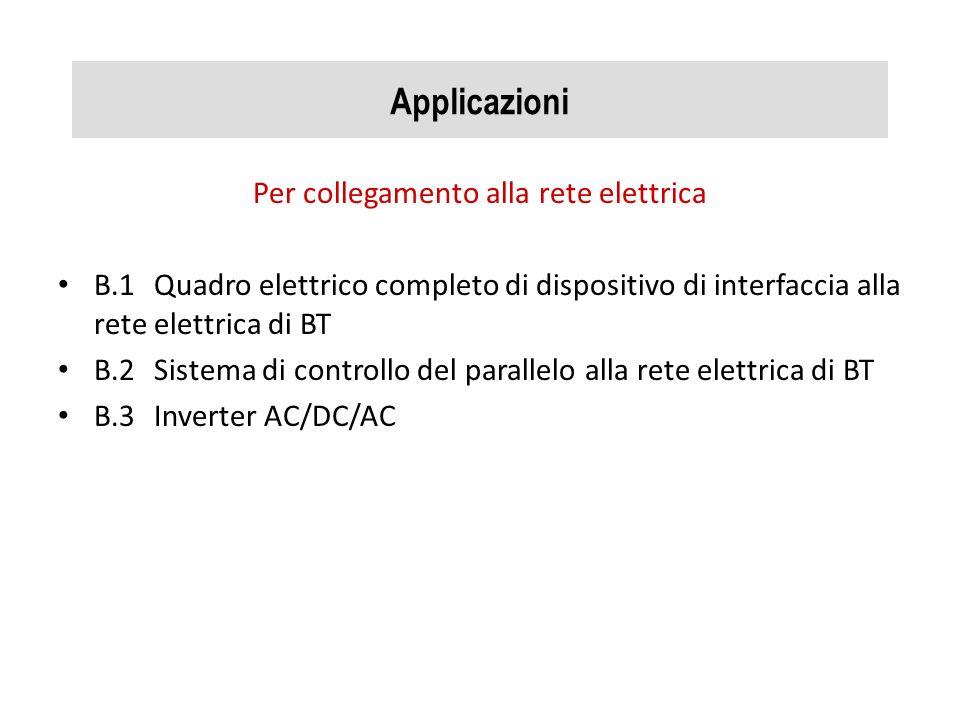 Applicazioni Per collegamento alla rete elettrica B.1Quadro elettrico completo di dispositivo di interfaccia alla rete elettrica di BT B.2Sistema di c