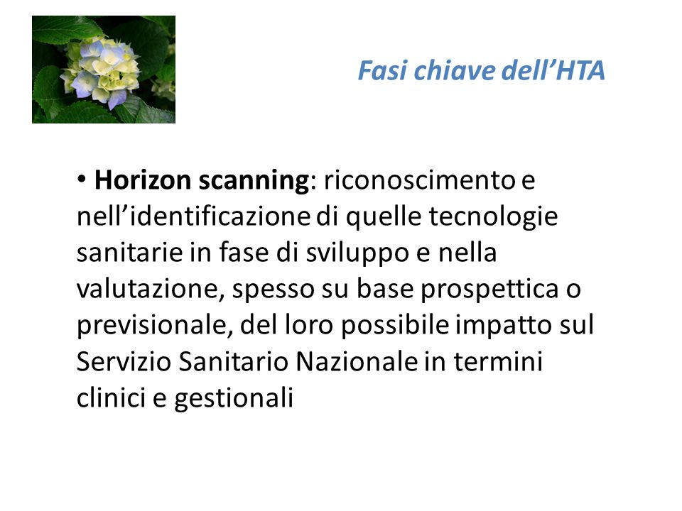 Fasi chiave dellHTA Horizon scanning: riconoscimento e nellidentificazione di quelle tecnologie sanitarie in fase di sviluppo e nella valutazione, spesso su base prospettica o previsionale, del loro possibile impatto sul Servizio Sanitario Nazionale in termini clinici e gestionali