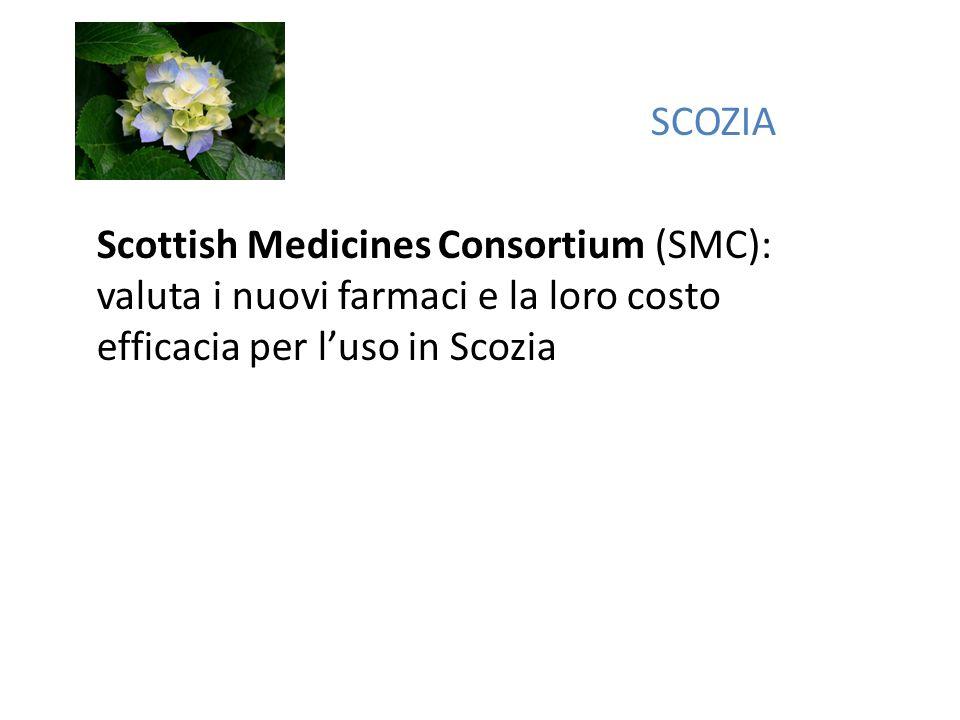SCOZIA Scottish Medicines Consortium (SMC): valuta i nuovi farmaci e la loro costo efficacia per luso in Scozia