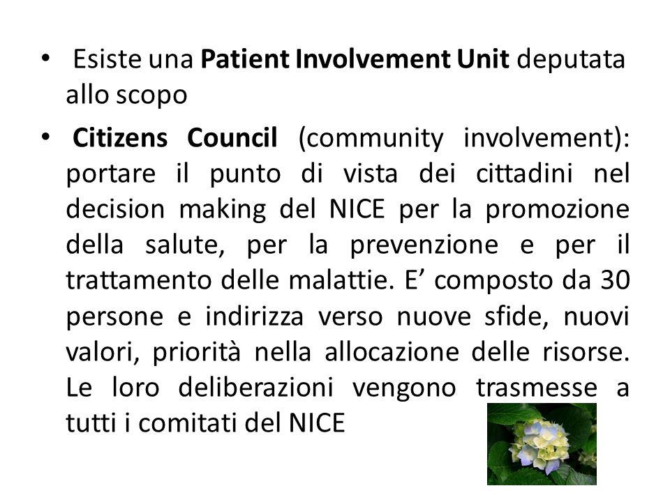 Esiste una Patient Involvement Unit deputata allo scopo Citizens Council (community involvement): portare il punto di vista dei cittadini nel decision making del NICE per la promozione della salute, per la prevenzione e per il trattamento delle malattie.