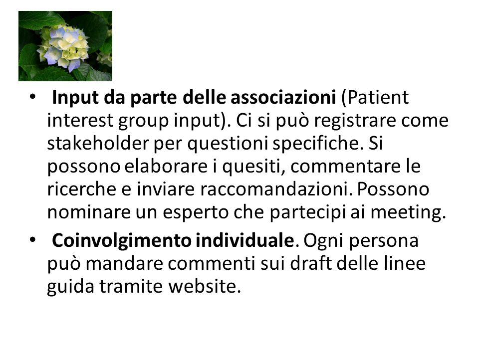Input da parte delle associazioni (Patient interest group input).