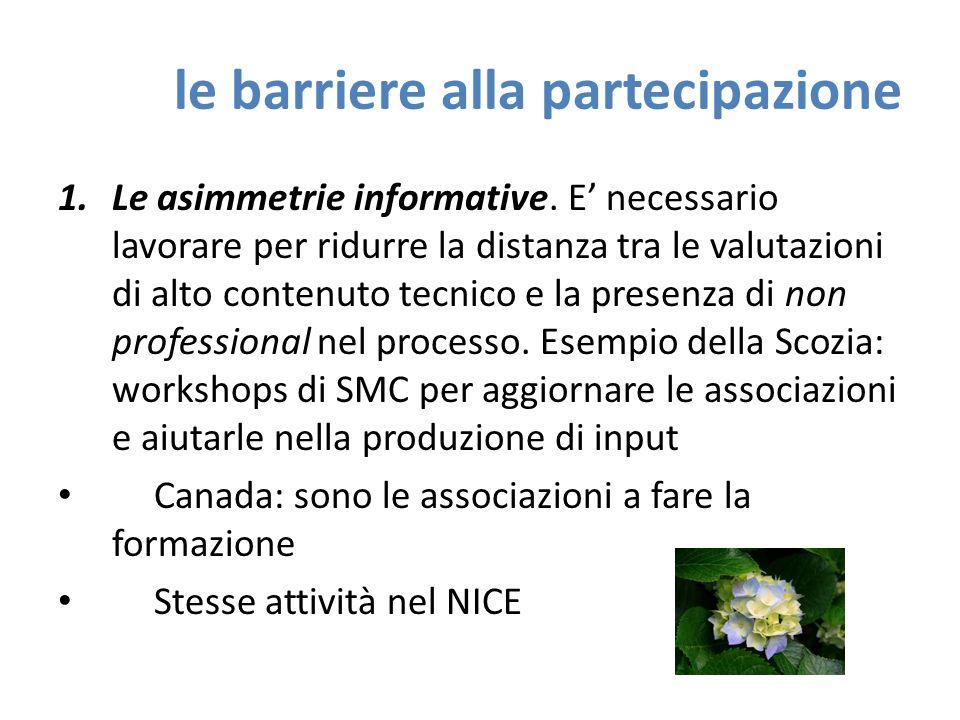 le barriere alla partecipazione 1.Le asimmetrie informative.