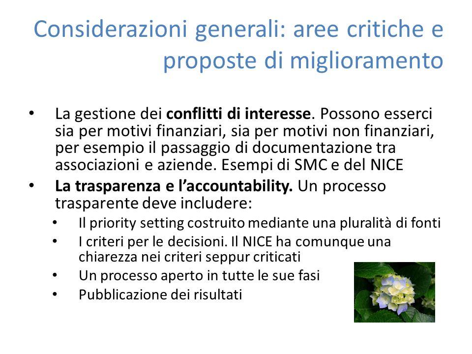 Considerazioni generali: aree critiche e proposte di miglioramento La gestione dei conflitti di interesse.