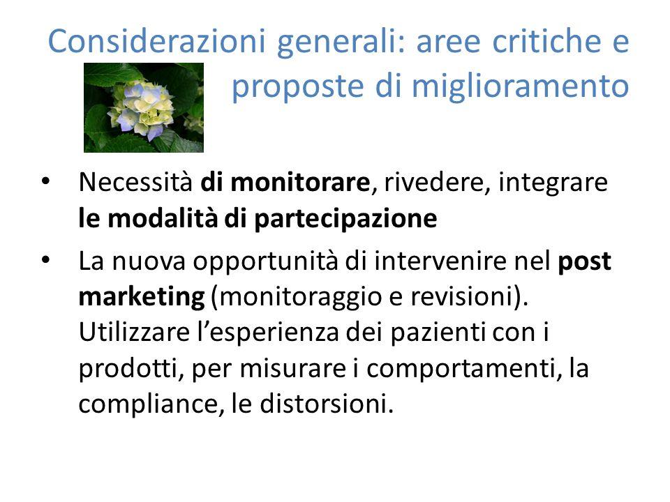 Considerazioni generali: aree critiche e proposte di miglioramento Necessità di monitorare, rivedere, integrare le modalità di partecipazione La nuova opportunità di intervenire nel post marketing (monitoraggio e revisioni).