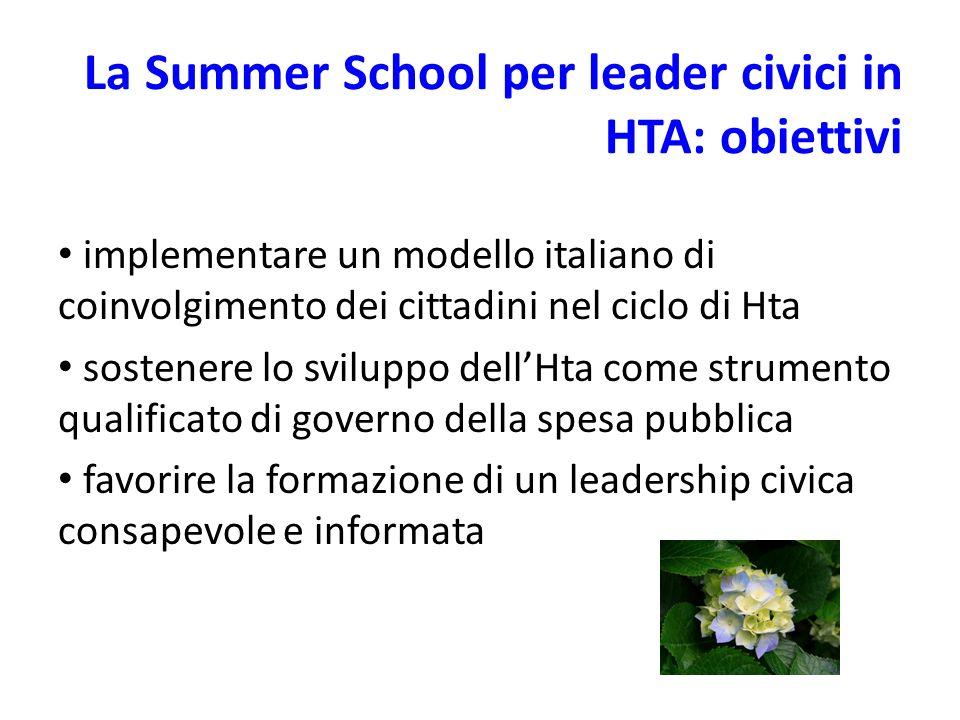 La Summer School per leader civici in HTA: obiettivi implementare un modello italiano di coinvolgimento dei cittadini nel ciclo di Hta sostenere lo sviluppo dellHta come strumento qualificato di governo della spesa pubblica favorire la formazione di un leadership civica consapevole e informata