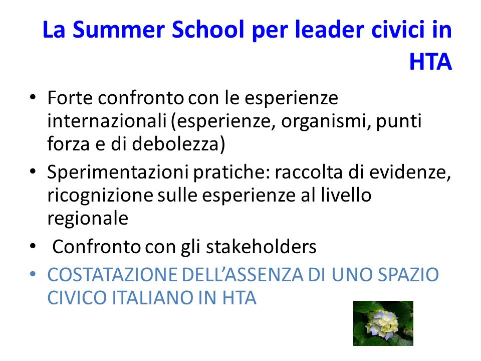 Traccia per una linea guida sul Patient and citizen involvement in Italia 1.