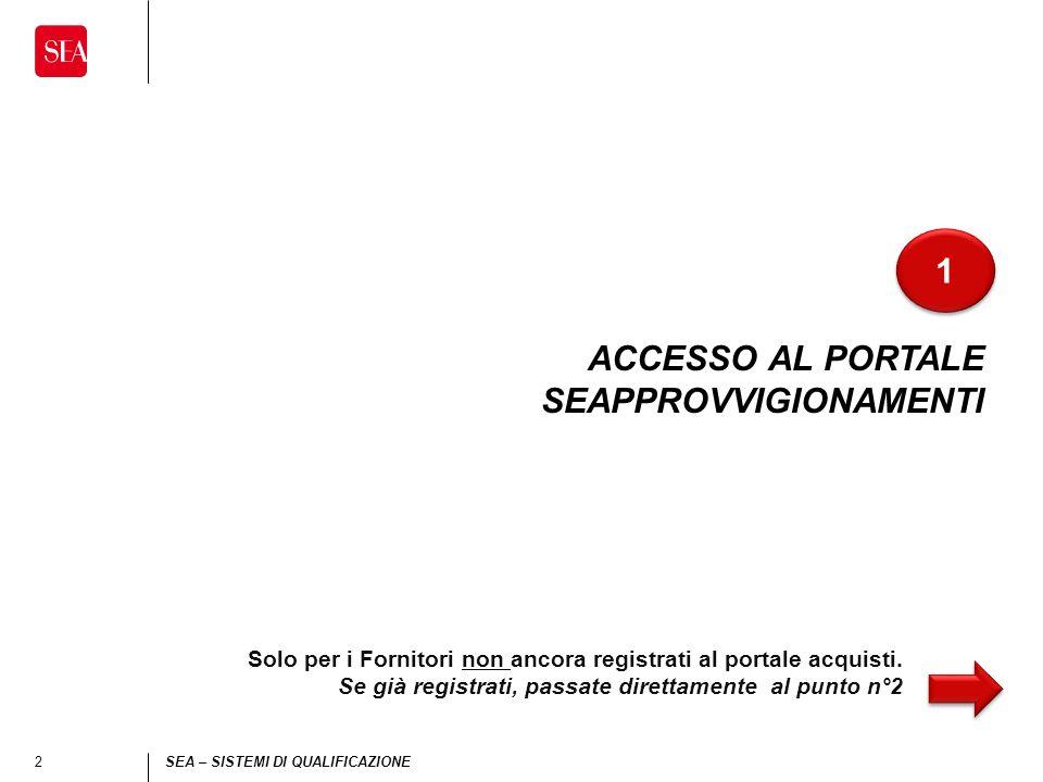 2 SEA – SISTEMI DI QUALIFICAZIONE ACCESSO AL PORTALE SEAPPROVVIGIONAMENTI 1 1 Solo per i Fornitori non ancora registrati al portale acquisti.