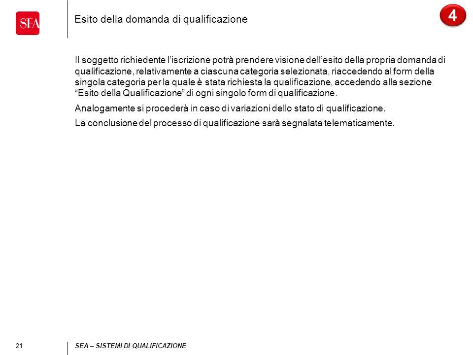 21 SEA – SISTEMI DI QUALIFICAZIONE Esito della domanda di qualificazione 4 4 Il soggetto richiedente liscrizione potrà prendere visione dellesito dell