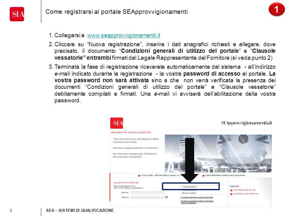 3 SEA – SISTEMI DI QUALIFICAZIONE Come registrarsi al portale SEApprovvigionamenti 1.Collegarsi a www.seapprovvigionamenti.itwww.seapprovvigionamenti.