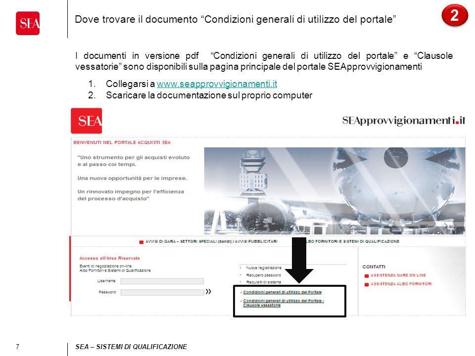 7 SEA – SISTEMI DI QUALIFICAZIONE Dove trovare il documento Condizioni generali di utilizzo del portale I documenti in versione pdf Condizioni general