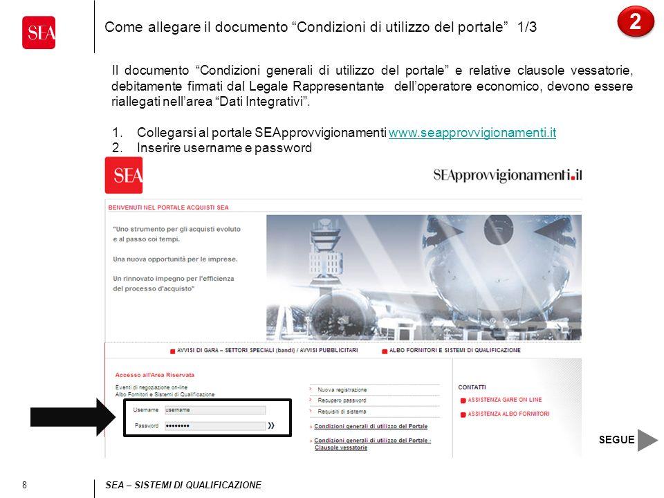 9 SEA – SISTEMI DI QUALIFICAZIONE Come allegare il documento Condizioni di utilizzo del portale 2/3 3.Cliccare a destra su Dati integrativi 2 2 SEGUE
