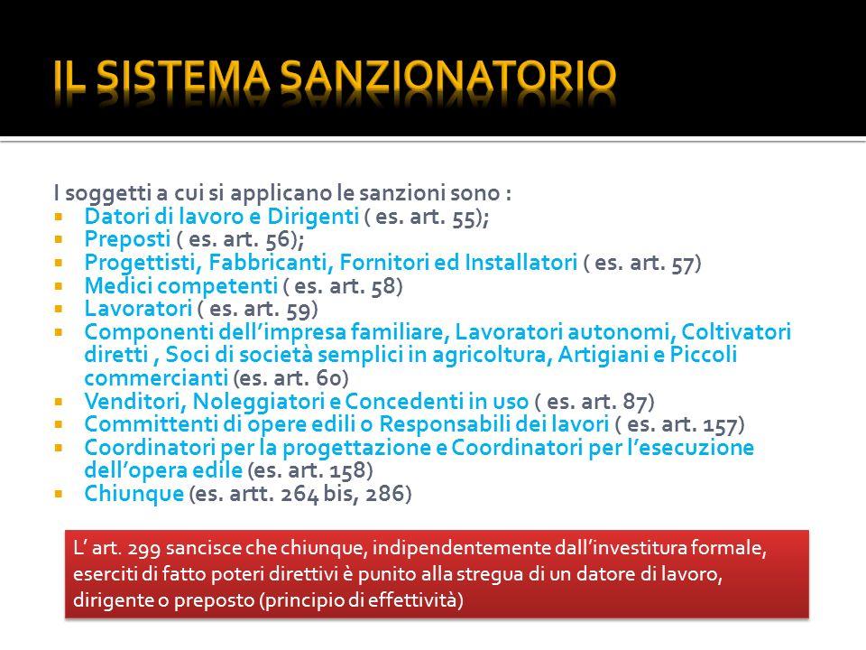 I soggetti a cui si applicano le sanzioni sono : Datori di lavoro e Dirigenti ( es. art. 55); Preposti ( es. art. 56); Progettisti, Fabbricanti, Forni