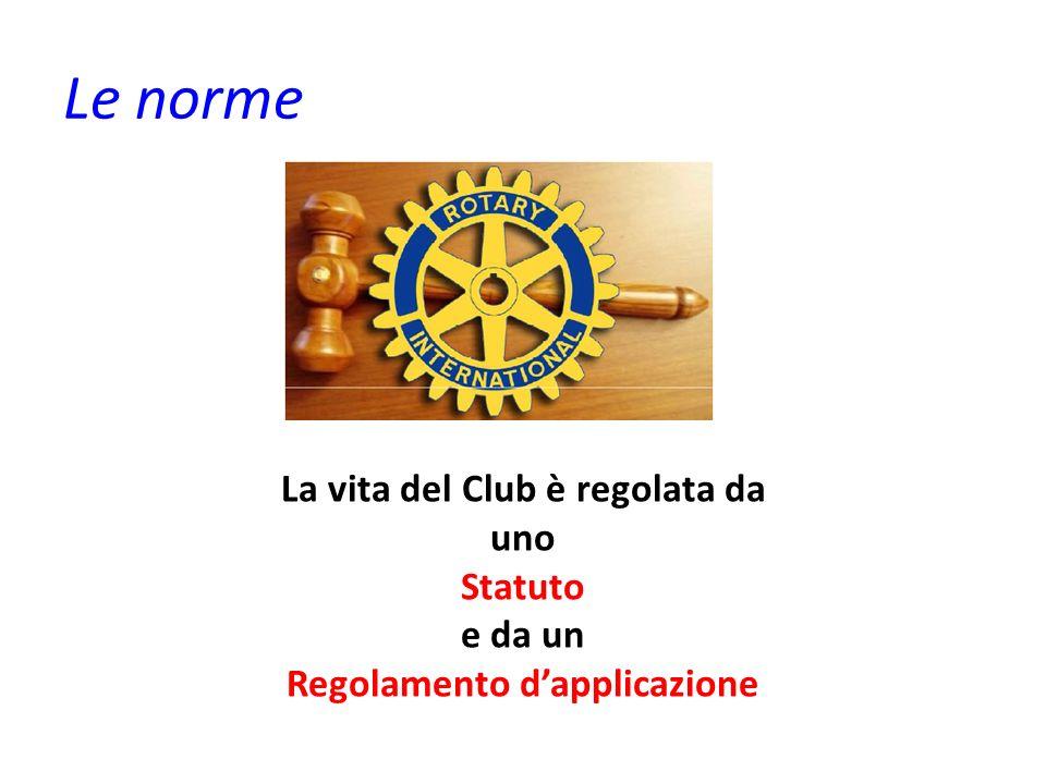 Le norme La vita del Club è regolata da uno Statuto e da un Regolamento dapplicazione