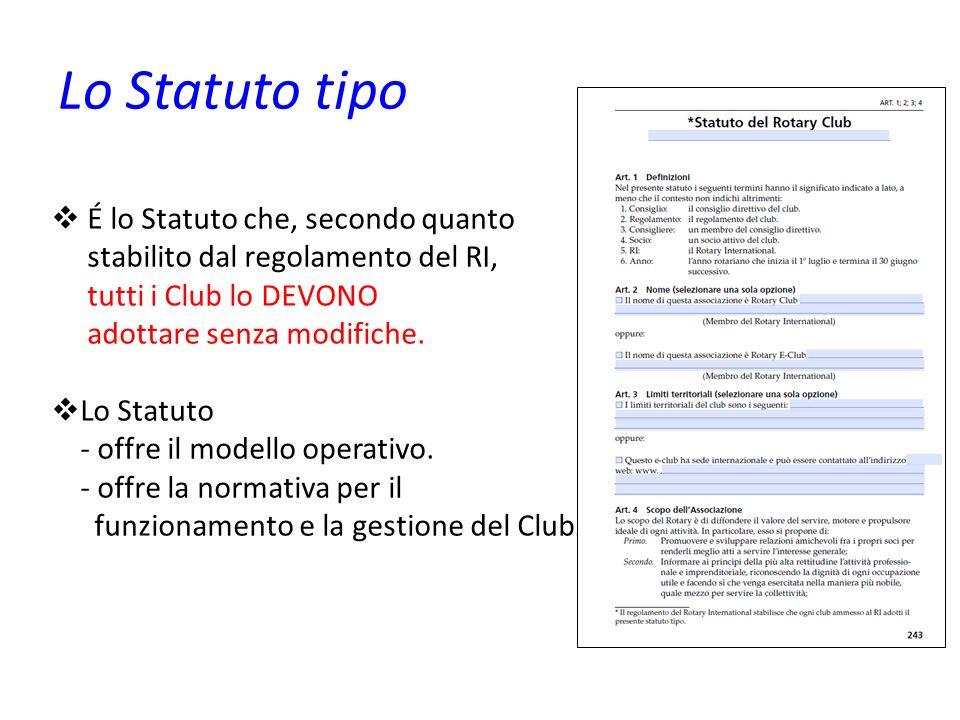 Lo Statuto tipo É lo Statuto che, secondo quanto stabilito dal regolamento del RI, tutti i Club lo DEVONO adottare senza modifiche. Lo Statuto - offre