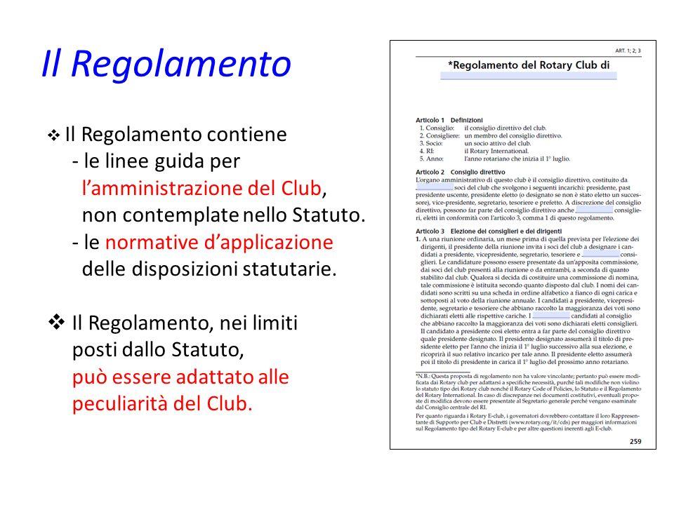 Il Regolamento Il Regolamento contiene - le linee guida per lamministrazione del Club, non contemplate nello Statuto. - le normative dapplicazione del