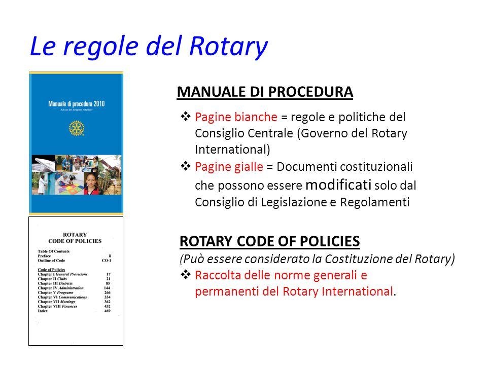 Le regole del Rotary MANUALE DI PROCEDURA Pagine bianche = regole e politiche del Consiglio Centrale (Governo del Rotary International) Pagine gialle
