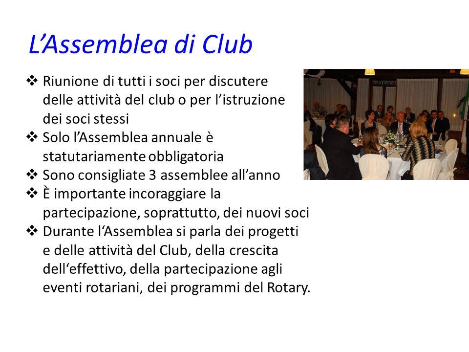 LAssemblea di Club Riunione di tutti i soci per discutere delle attività del club o per listruzione dei soci stessi Solo lAssemblea annuale è statutar