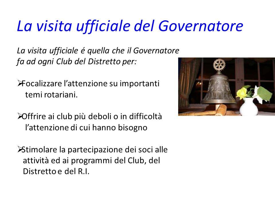 La visita ufficiale del Governatore La visita ufficiale é quella che il Governatore fa ad ogni Club del Distretto per: Focalizzare lattenzione su importanti temi rotariani.