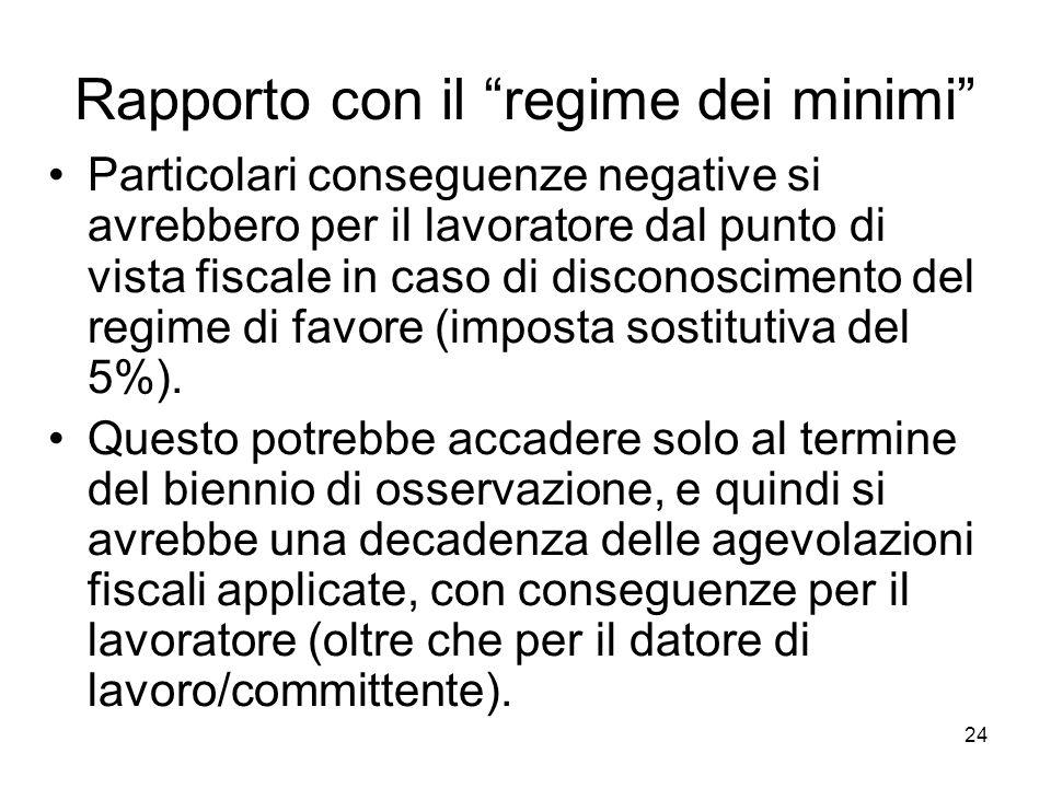 24 Rapporto con il regime dei minimi Particolari conseguenze negative si avrebbero per il lavoratore dal punto di vista fiscale in caso di disconoscimento del regime di favore (imposta sostitutiva del 5%).