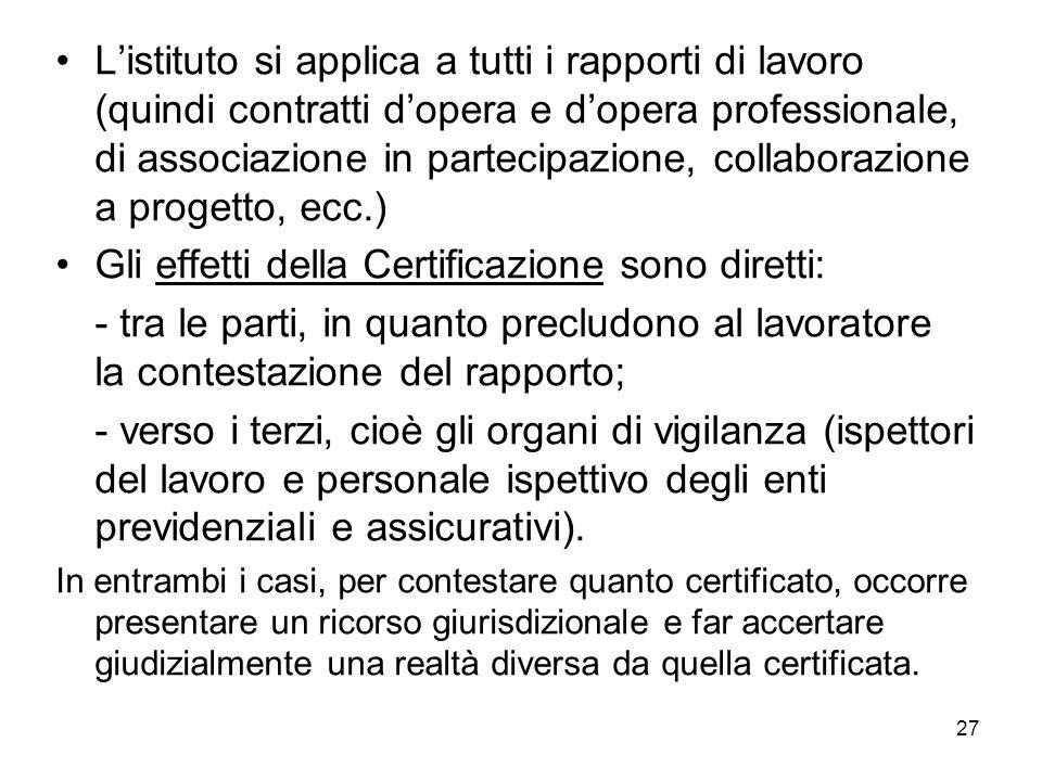 27 Listituto si applica a tutti i rapporti di lavoro (quindi contratti dopera e dopera professionale, di associazione in partecipazione, collaborazion