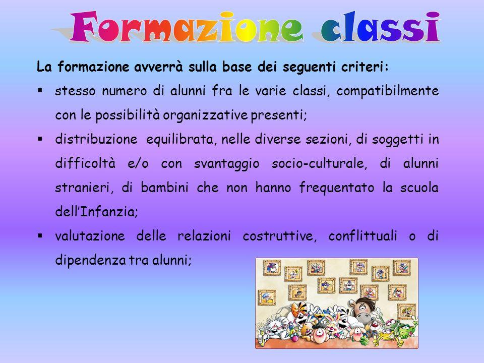 La formazione avverrà sulla base dei seguenti criteri: stesso numero di alunni fra le varie classi, compatibilmente con le possibilità organizzative p