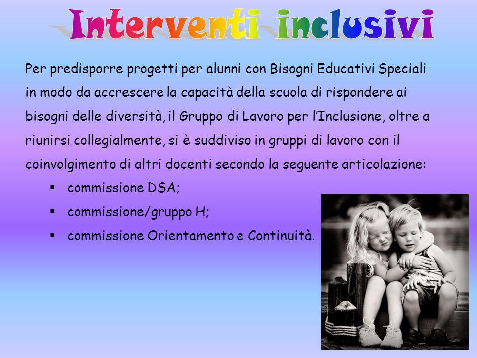 Per predisporre progetti per alunni con Bisogni Educativi Speciali in modo da accrescere la capacità della scuola di rispondere ai bisogni delle diver