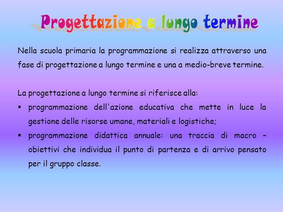 Nella scuola primaria la programmazione si realizza attraverso una fase di progettazione a lungo termine e una a medio-breve termine. La progettazione