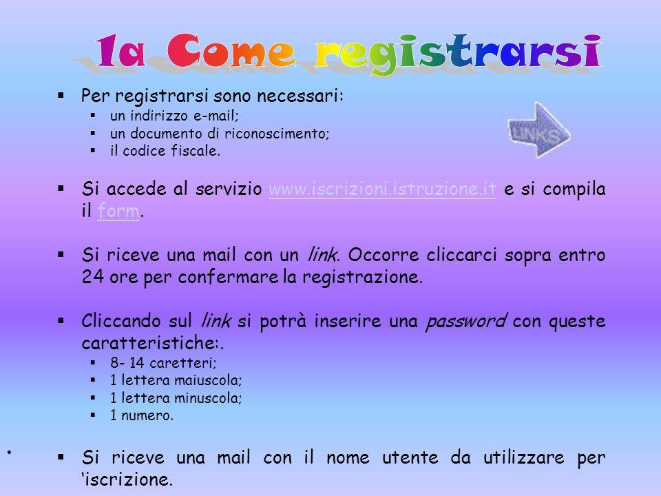 Per registrarsi sono necessari: un indirizzo e-mail; un documento di riconoscimento; il codice fiscale. Si accede al servizio www.iscrizioni.istruzion
