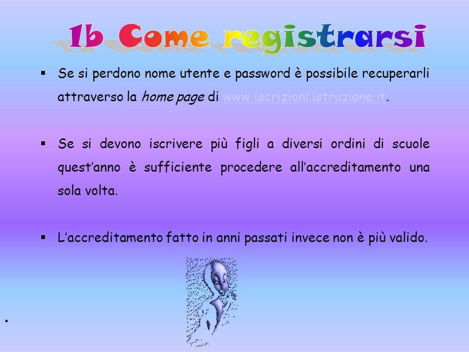 Se si perdono nome utente e password è possibile recuperarli attraverso la home page di www.iscrizioni.istruzione.it.www.iscrizioni.istruzione.it Se s