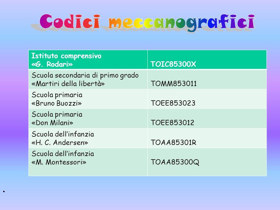 Istituto comprensivo «G. Rodari»TOIC85300X Scuola secondaria di primo grado «Martiri della libertà»TOMM853011 Scuola primaria «Bruno Buozzi»TOEE853023
