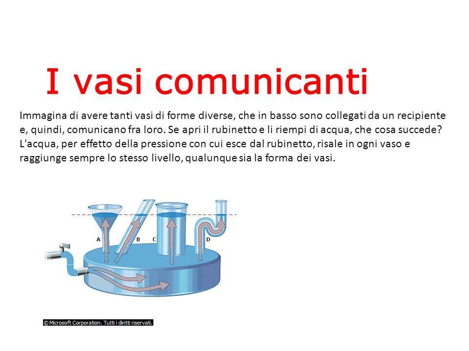 Immagina di avere tanti vasi di forme diverse, che in basso sono collegati da un recipiente e, quindi, comunicano fra loro. Se apri il rubinetto e li