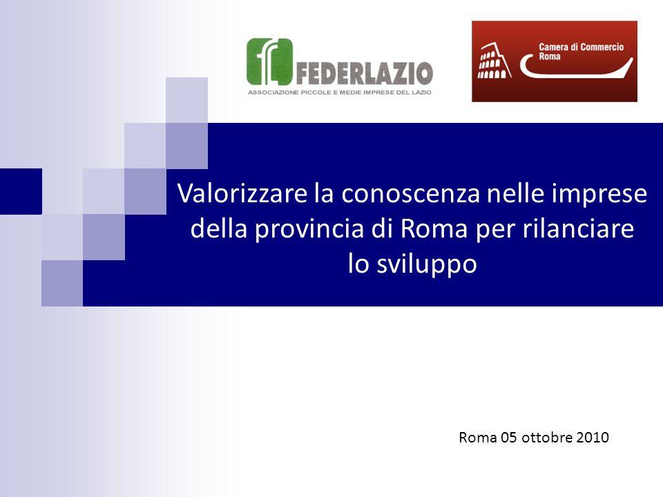 Valorizzare la conoscenza nelle imprese della provincia di Roma per rilanciare lo sviluppo Roma 05 ottobre 2010
