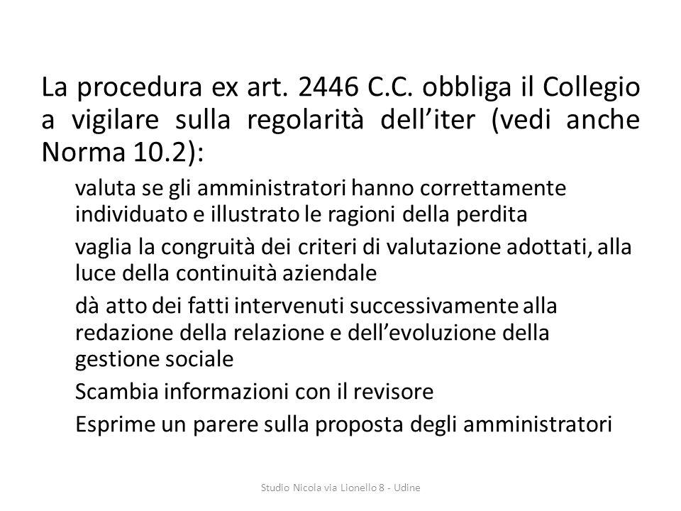 La procedura ex art.2446 C.C.