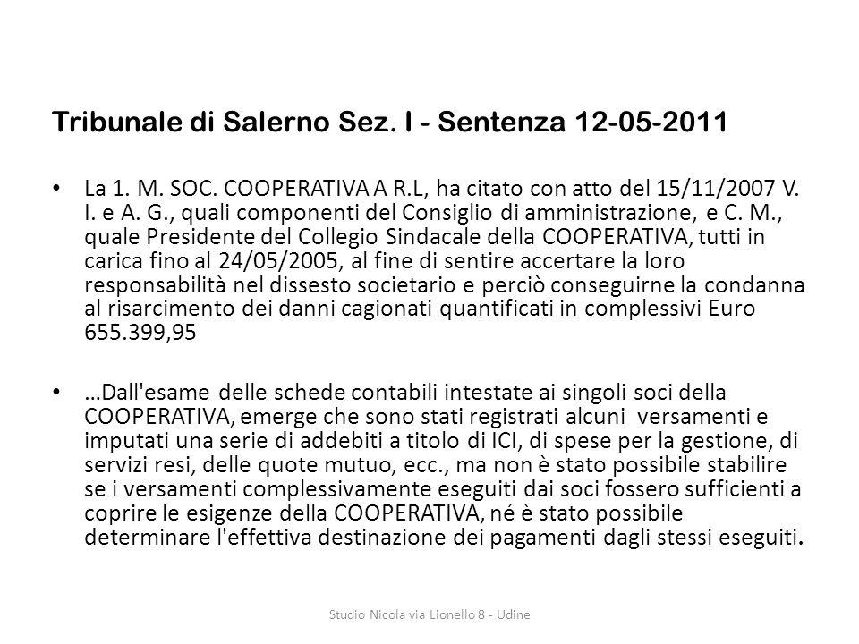 Tribunale di Salerno Sez.I - Sentenza 12-05-2011 La 1.