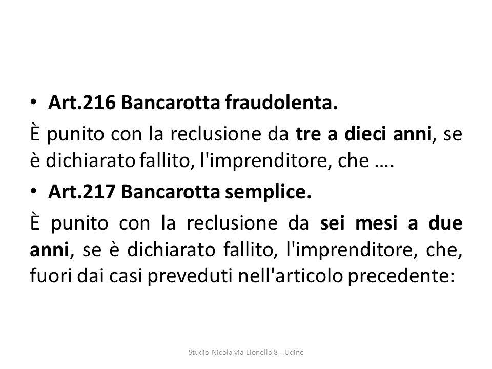 Art.216 Bancarotta fraudolenta.