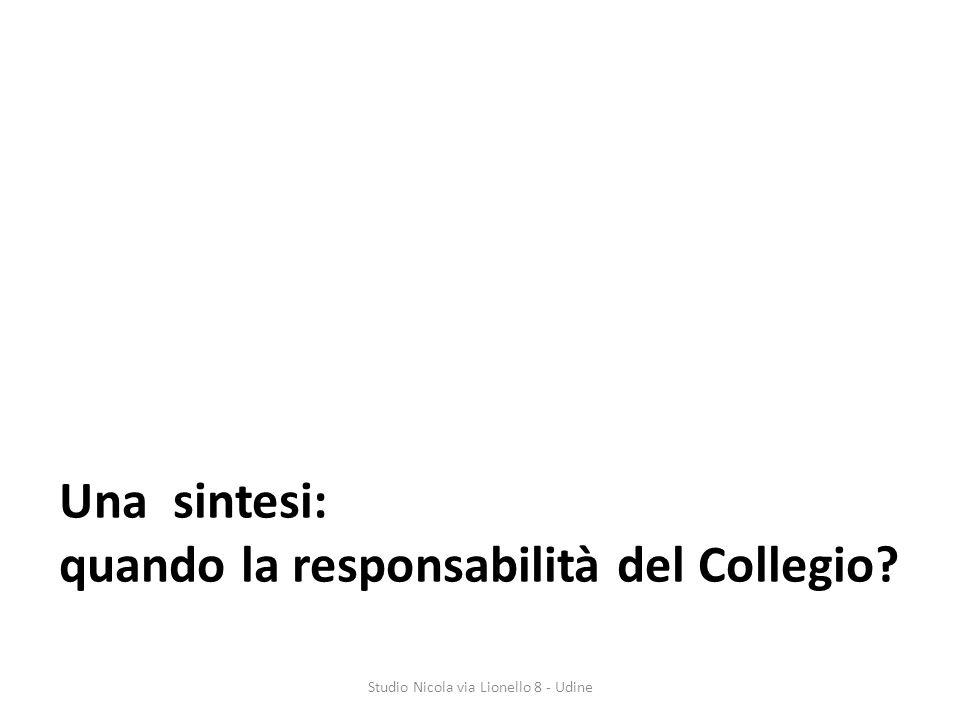 Una sintesi: quando la responsabilità del Collegio? Studio Nicola via Lionello 8 - Udine