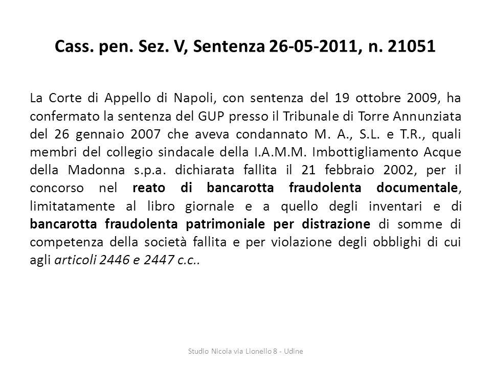 Cass.pen. Sez. V, Sentenza 26-05-2011, n.